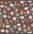 floral seamless pattern with flowers branches vector image