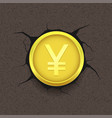 golden yen on cracked background vector image vector image