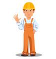 handsome builder in uniform vector image vector image