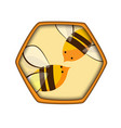 honey comb icon with bees carving style vector image vector image