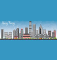 hong kong skyline with gray buildings and blue sky vector image vector image