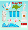 landmarks icons set singapore cartoon cultural vector image