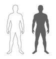 male human body silhouette and contour isolated vector image vector image