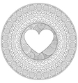 Mandala heart for Valentine day Decorative round vector image