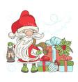 many gifts santa new year cartoon card illu vector image