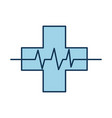 medical cross with heart beat healthy vector image