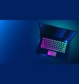 modern futuristic laptop on dark blue background vector image vector image