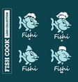 modern professional set logo emblem fish cook for vector image