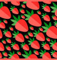 red flat strawberries on a black background vector image