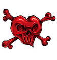 red skull hearth on white vector image vector image