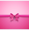 Romantic pink background with cute bow and pattern vector image vector image
