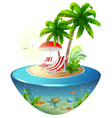 secluded vacation on tropical island two chaise vector image vector image