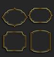 set golden vintage frame labels vector image vector image