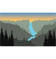 Silhouette of river from the top on mountain vector image vector image