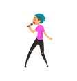 singer girl singing with microphone young man vector image vector image