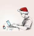 sketch man in christmas hat working vector image