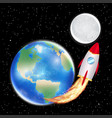 space rocket launching from earth to moon vector image