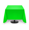 square dining table with green tablecloth and vector image vector image