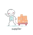 supplier walks with a cart of goods vector image vector image