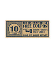 ten cent coupon template discount coupon on 10 vector image vector image