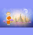 thai monk and pagoda temple design vector image
