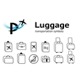 Transportation icons set Luggage baggage liquid vector image vector image