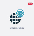 two color world wide web on grid icon from web vector image