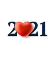 valentine day 2021 heart realistic 3d concept vector image vector image