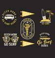 vintage summer logos surfing badges set hand vector image vector image