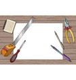 white paper sheet with pens and construction tools vector image vector image