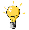 yellow bulb on white background vector image vector image