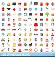 100 universal icons set cartoon style vector image