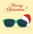 sunglasses with santa klaus hat vector image