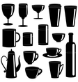 Cups and glasses silhouettes collection vector image
