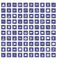 100 dish icons set grunge sapphire vector image vector image