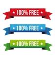 100 percent free ribbon set - red blue green vector image