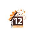 12 years gift box ribbon anniversary vector image