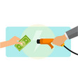 a man paying cash for electric car charging vector image vector image