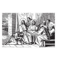 a woman washes and anoints jesus feet vintage vector image vector image