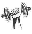arm strong hand holding a dumbbell icon cartoon vector image vector image