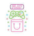 bag controller and play button neon video game vector image vector image