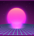 black hole in neon colors 80s or 90s vector image vector image