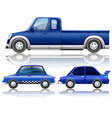 Blue cars and truck vector image vector image