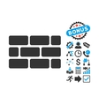 Brick Wall Flat Icon with Bonus vector image
