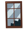 broken window on white background vector image vector image