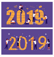 business people building a numbers 2019 vector image vector image