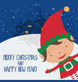 Cartoon for holiday theme with elf on winter backg