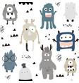 childish seamless pattern with cute boys monsters vector image