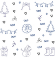 Doodle of art christmas set vector image vector image