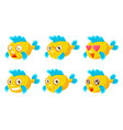 funny yellow fish with different emotions set vector image vector image